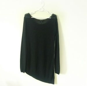 BCBG Maxazria Sweater Black Sheer Asymmetrical